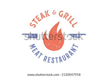 Meat logo. Logo for grill house restaurant with knife, text typography Steak, Grill, Meat, Restaurant. Graphic logo template for restaurant, bar, cafe, food court and menu, label. Vector Illustration