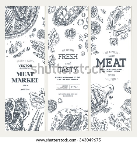 Meat market  banner collection. Linear graphic. Top view vintage illustration