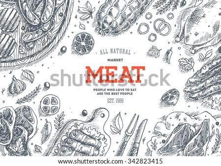 Meat market  frame. Linear graphic. Vector illustration