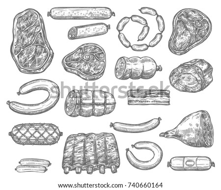 Meat product delicatessen and sausages sketch icons. Vector isolated set of pepperoni, cervelat or salami sausage, pork filet or brisket and beef steak tenderloin, mutton ribs and veal bacon or ham