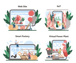 Meat production industry online service or platform set. Butcher or meatman factory. Fresh meat and semi-finished products producing. Online IIoT, smart factory, VPP, website. Flat vector illustration