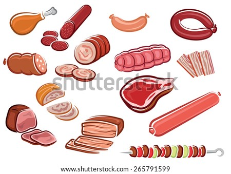 meat products in cartoon style