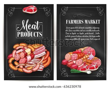Shutterstock Meat products of farmers market. Butchery shop meat delicatessen of ham or bacon brisket, butcher gourmet gastronomy of frankfurter or saveloy sausages and cervelat, pork lard, salami and steak.