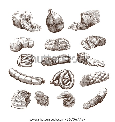 meat products set of hand drawn