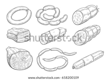 Shutterstock Meat products sketch vector icons. Isolated symbols of sausages, meat delicatessen of ham or bacon and barbecue brisket, butcher gourmet gastronomy of salami and steak for farmers market