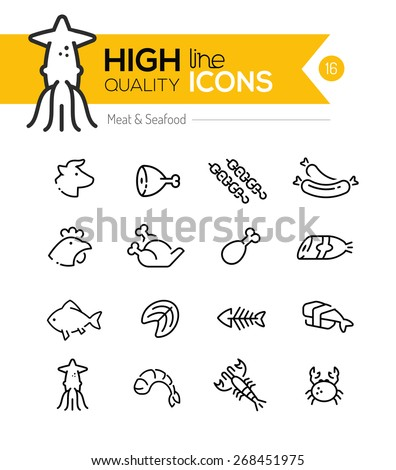 Meat & Seafood Line Icons including: Beef, chicken, fish, sushi etc..