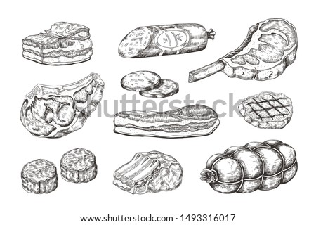 Meat steak. Vintage food sketch with butchery products, pork ham bacon lamb ribs and beefsteak. Vector illustration hand drawn raw cutting grill menu