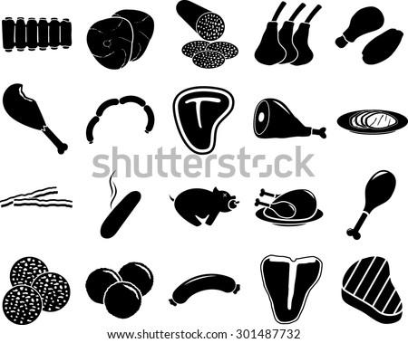 Shutterstock meat symbols set