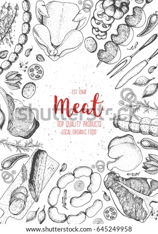 meat top view frame vector