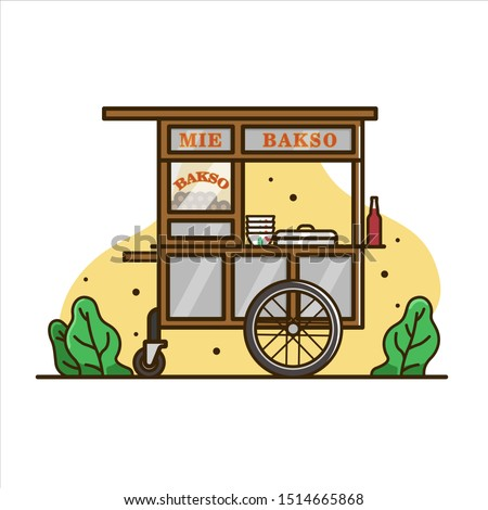 Meatball noodle cart illustration, cart food vector. indonesian cart food. isolated cart vector
