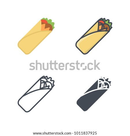 Meatroll flat line silhouette vector icon