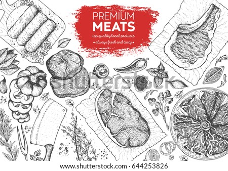 Meats top view frame. Vector illustration. Engraved design. Hand drawn illustration. Meat products design template.