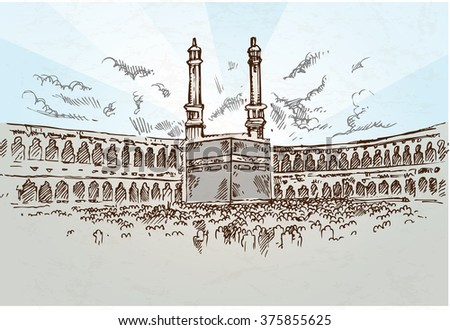 mecca background drawing hand