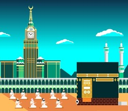 Mecca or Makkah, with Kaaba & muslims pray, flat vector design illustration with daylight banner or poster