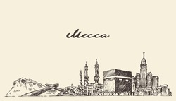 Mecca skyline, vector engraved illustration, hand drawn