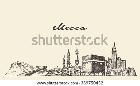 mecca skyline  vector engraved