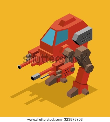 mecha robot isometric vector
