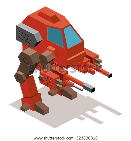 mecha war robot isometric