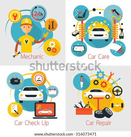Mechanic and Car Maintenance Service Concept Set, Automobile Check Up, Repair
