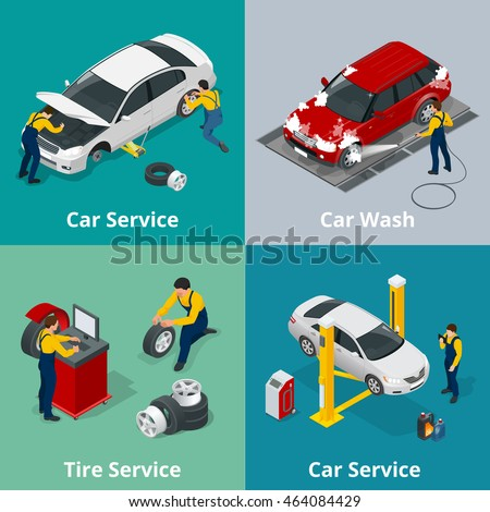 Mechanic and Car Repair. Flat 3d isometric illustration for infographics and design