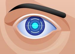 Mechanic Eye Implant Ophthalmology Bionic Prototype  Vector illustration