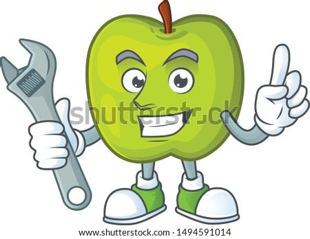 Mechanic granny smith apple character for health mascot
