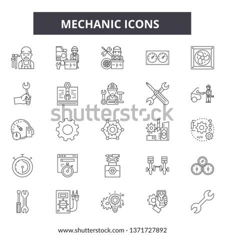 Mechanic icon line icons, signs set, vector. Mechanic icon outline concept, illustration: service,mechanic,repair,engine,auto,wheel,car #1371727892