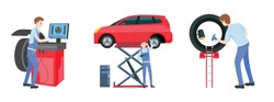 Mechanic in a garage set. Wheels and tyre fitting service. Transportation, tire repair, computerized balancing collection. Editable vector illustration in flat cartoon style on white background