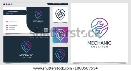 Mechanic logo location with gradient line art style and business card design template Premium Vector Foto stock ©