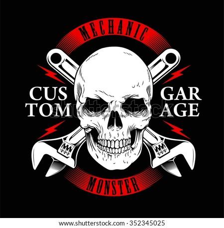 mechanic monster or garage vintage and skull print tees
