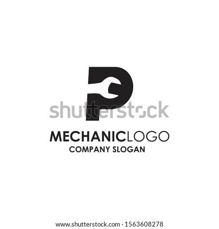 Mechanic, p logo auto mechanical modern stock photo