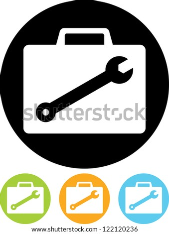 Mechanic's or repairman's equipment case with tools - Vector icon isolated