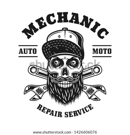 Mechanic skull and crossed adjustable wrenches vector emblem, label, badge or logo in monochrome vintage style isolated on white background