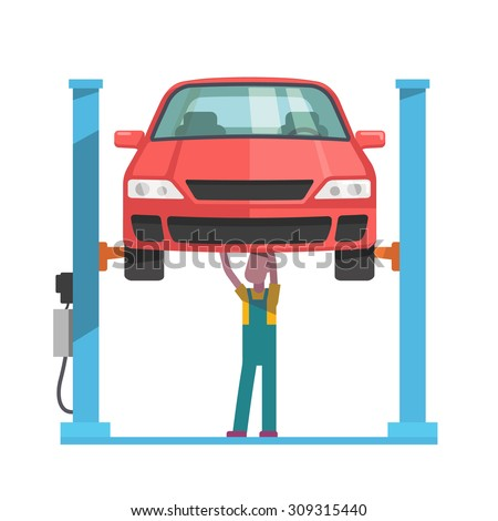 Mechanic standing under underbody and repairing a car lifted on auto hoist. Front view. Flat style vector illustration isolated on white background.
