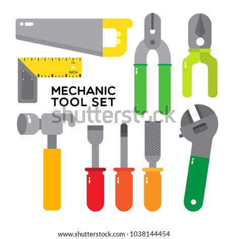 Mechanic tool set composed with typical hand tool, hammer, saw, ruler, screwdriver, phillips. pliers, cutting pliers, wrench or spanner.