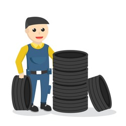mechanic with a stack of tires design character on white background