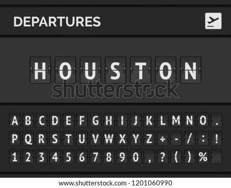 Mechanical airport flip board font displays flight info of departure destination in USA: Houston with aircraft icon . Vector illustration