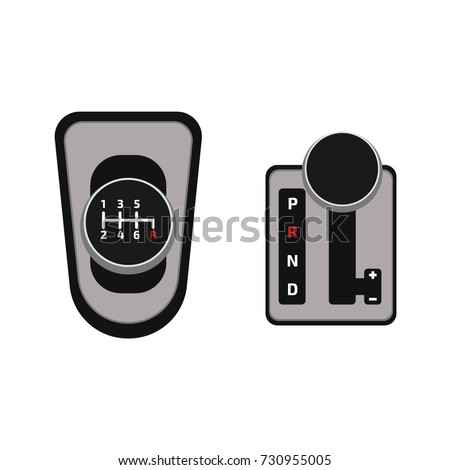 mechanical and automatic gearbox. Isometric vector illustration