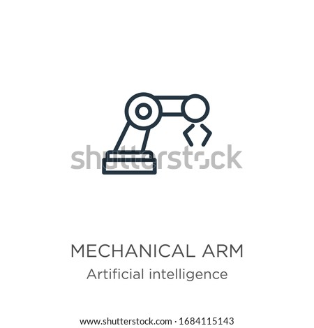 Mechanical arm icon. Thin linear mechanical arm outline icon isolated on white background from artificial intelligence collection. Line vector sign, symbol for web and mobile