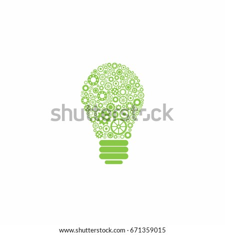 Mechanical bulb made of green gears and wheels. Isolated on white background. Creative new technology icon. Team work label. Ecology Idea sign. Eco thinking concept. Vector illustration.