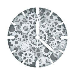 Mechanical clock or watch with cogwheel gear mechanism, vector illustration in paper art modern craft style. Steampunk style clock.