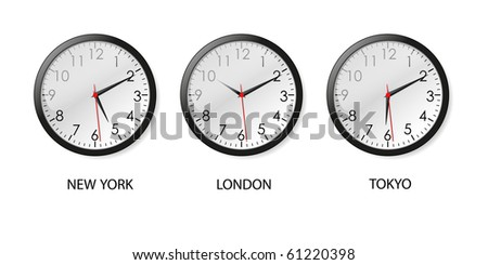 Mechanical clocks displaying time in three big cities (vector)