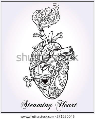 Mechanical clockwork metal steaming human heart steam punk style Hand drawn line art Vintage Victorian Beautiful tattoo template Isolated vector illustration design element Silver white paper