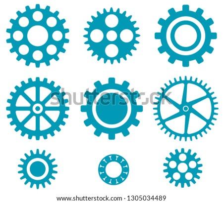 Mechanical Cogs and Gear Wheel Set as Vector Set