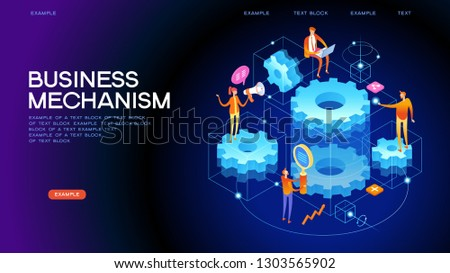 Mechanical concept. People links of mechanism. Industry development. Engine work. Men are engaged in business promotion. 3d vector isometric illustration.