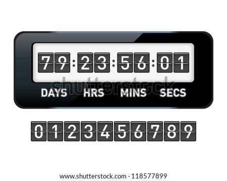 Mechanical countdown timer. Vector illustration.