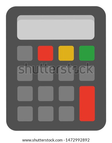 Mechanical device for calculating numbers, isolated machinery. Calculator icon closeup, technology for estimation, estimator flat. School calculate accessory. Office object. Stationery for mathematics