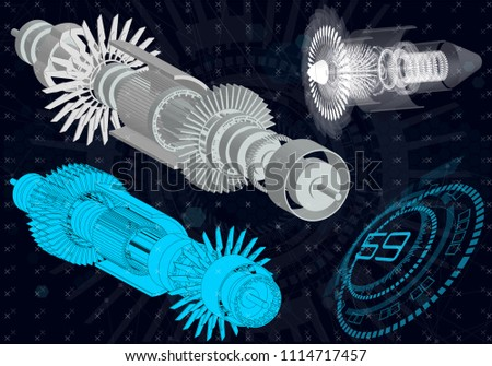 Mechanical diagram, vector drawing with circles and geometric parts of the mechanism. engine, future engineering, HUD, elements interface Ui, Industrial aerospace project, Jet engine of the aircraft