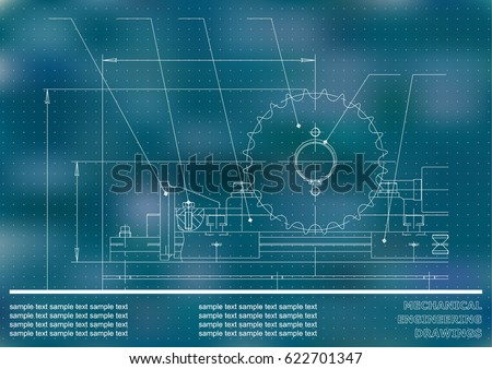 Mechanical drawings. Engineering illustration background. Blue. Points #622701347
