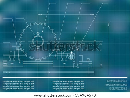 Mechanical drawings on a blue and white background. Engineering illustration. Vector #394984573